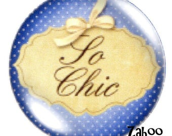 1 cabochon 30mm glass bow So chic, blue and beige