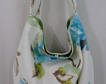 Large Slouchy, Turquoise and White Floral, Hobo, Boho, Diaper BAG, Spring Summer Shoulder Purse