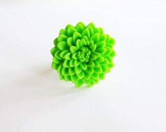 Chrysanthemum ring. Lime green ring. Bright green ring. Lime green flower ring. Lime green mum ring. Large flower ring. Statement ring.