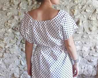 Dress Bohemian white oversized polka dots, batwing sleeves, polka dot retro dress pregnancy dress