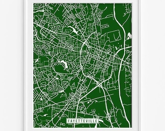 Fayetteville Print, North Carolina Poster, Fayetteville Map, North Carolina Print, Fayetteville Poster, Street Map, Fathers Day Gift