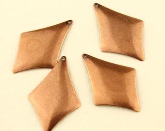 Antique Copper Diamond Drop,  Beading Supplies, 4 Copper Drop, Dangles, Jewelry Findings