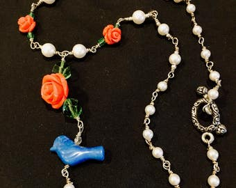 Sweet Bluebird with Roses and Pearls Silver Necklace