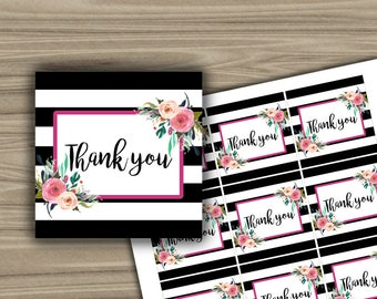 Thank You Tags - Bridal Shower - Tags - Black and White - Floral - Printable - Instant Download - DIY - Thank You Tags - L11