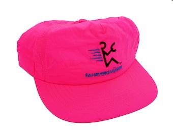 Vintage Fahrvergnügen Volkswagen 90's Ad Campaign Bright Fluorescent Hot Pink Snapback Hat