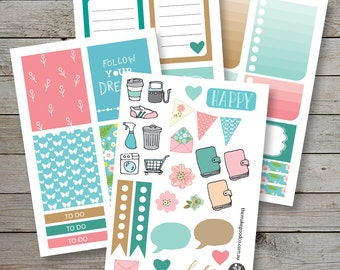 Printable Planner stickers - Erin Condren Filofax Happy Planner - Tan Mint Pink - checklist stickers - planner icons - November monthly kit