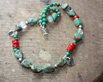 SOLD!  Turquoise and coral necklace