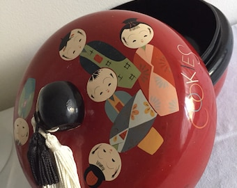 Vintage Kokeshi Lacquered Cookie Jar with Tassels Fortune Cookies