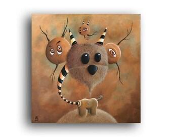 "Original pop surreal acrylic creature painting on canvas by Olivier Castillon ""La protection divine"""