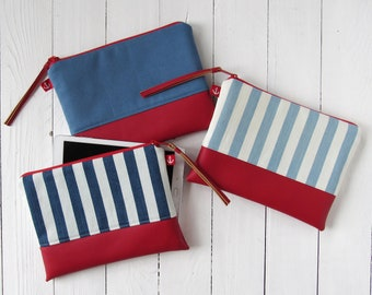 vegan leather clutch, nautical clutch bag, cosmetic bag, blue red, stripe makeup bag, summer clutch, blue white striped pouch, canvas purse