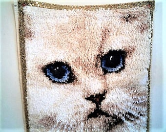 "GORGEOUS CAT LATCH Hook Rug Ready To Hang! Finished Cat Wall Hanging! ""Society Cat"" Latch Hook Rug White Cat Cat Lovers Birthday Christmas"
