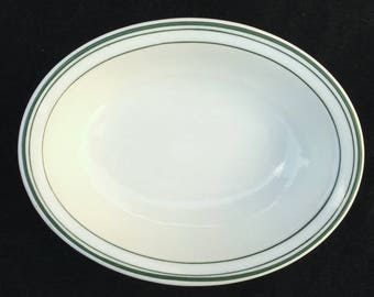 "Carr Diner Restaurant Hotel China 7-1/4"" Green-Banded ""Saratoga"" Oval Bowl/Baker in Excellent Condition"
