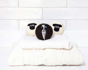 Wool dryer balls, Sheep dog mix - 2 x Suffolk sheep and 1 x sheep dog felted laundry balls, reusable, natural fabric softener