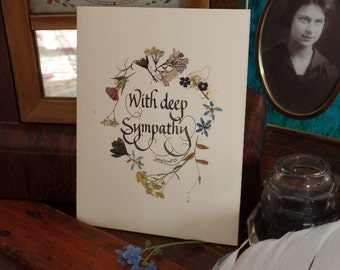 sympathy card, calligraphy, pressed flower art, note card, thinking of you, heartfelt, blank, Victorian, print