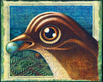 Birdland: Surreal bird art print 8x10, with earth & miniature landscape, Fantasy world, Bird's eye view, Bird lover gift, Oddity curiosity