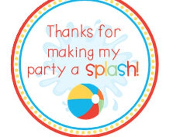 INSTANT DOWNLOAD Beach Pool Party Favor Thank you Tags