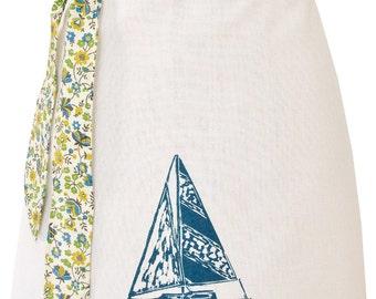 Organic block print sailboat apron