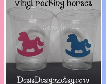 24 Gender reveal Rocking horse vinyl decals Baby shower Birthday party decorations girl boy sprinkle party vinyl cup stickers party cups
