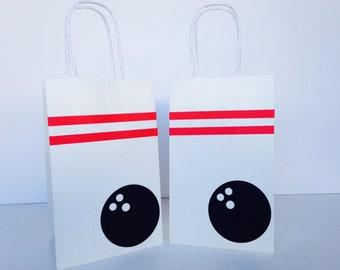 Bowling Party Favor Bags - Bowling Paper goodie Bags - Set of 10 goodie bags