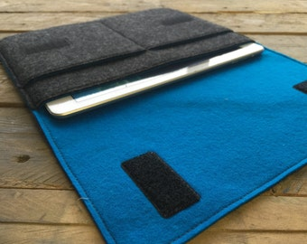 iPad Air Sleeve - iPad Air Case - iPad Air Cover - Mottled Dark Grey and Various Inner Colours - 100% Wool Felt