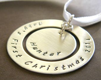 "Baby's First Christmas Tree Ornament - Personalized Baby's 1st Christmas Ornament - Hand Stamped Sterling Silver 1.5"" Keepsake Ornament"
