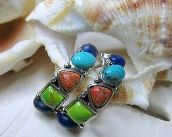 ON SALE Sterling Silver Turquoise, Sunstone, and Lapis Lazuli J Hoop Earrings 2.54g