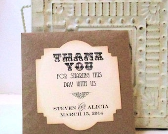 Set of 10 Rustic Wedding Favors - Wildflower Seeds - Personalized - Seed Packets - Thank you