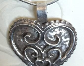 Fine Silver Heart Filigree Pendant