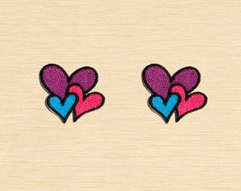 Set of 2 pcs Mini Colorful Purple Heart Iron On Patches Sew On Appliques