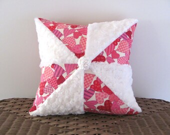 Pink pillow cover 14 X 14 PINWHEEL HEARTS white cushion cover cottage style Valentine pillow