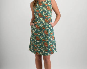 Summer Cotton Dress Green Floral Print with Pockets
