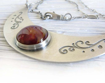Ashes cremation glass Ethereal crescent necklace.  Sterling silver scroll pendant pet cremains jewelry.  Handmade keepsake of loved pet.