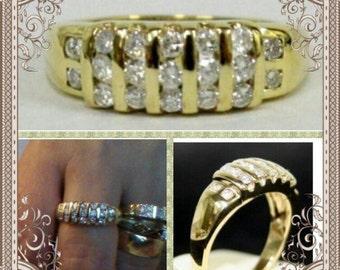 Engagement 9K Solid Gold Ring, •50 Ct Brilliant Cut Diamonds, 4.23 Grms, G-H Colour, Channel Set Diamonds, VSI, Wide Band, LAYBYS,