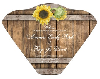 SET OF 25+ Wine Barrel & Sunflowers Design Wedding Program Fan custom colors available