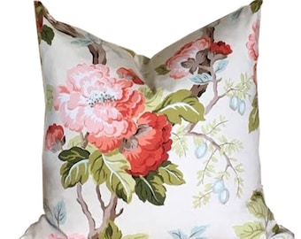 Pillow Cover Floral Coral on White Background