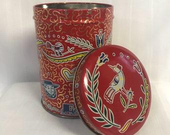 Vintage Pensilvania Dutch Red Tin