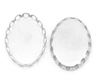 Set of 10 blank pendants 13 X 18 mm matte silver oval with edge lace