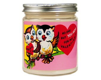 Valentine Candle, Custom Scented Candle, Container Candle, Soy Candle, Valentines Day Gift, Vintage Valentine Day, Owl Candle