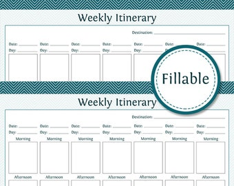Travel Planner: Weekly Itinerary - Week Overview - Fillable - Instant Download - Printable PDF  - Vacation Planner