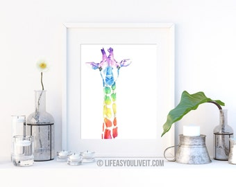 Watercolor Giraffe Print / Original Gifts / Gifts for Her / Unique Gifting Ideas / Gifts for All / Handmade Items / Home Decor / Etsy Fresh