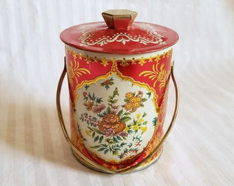 Vintage Red Floral Tin From Murray Allen Confections Of Montreal Canada, Canister Made In England. Lidded & Handled, Alpine Pattern.