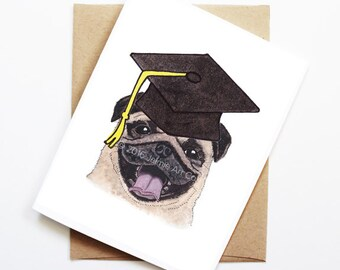 Graduation Card - Pug, Grad Card, College Graduation, High School Grad, Congrats Grad, Congrats Card, Cute Dog Card