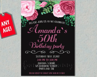 Adult birthday invitation etsy adult birthday invitation for her 30th 40th 50th birthday invites party supplies woman party invite floral filmwisefo Choice Image