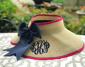 Ladies Monogrammed Sun Visor Hat with Bow Embellishment