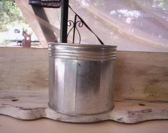 Vintage metal bucket/Summer bucket/Galvanized container/Decorative metal container/Galvanized  planter/Spring bucket/Metal planter