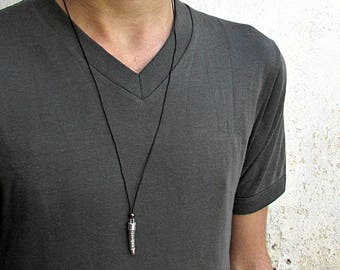 Dragon Tooth Men's Long Necklace Pendant, Silver Charm, Leather Necklace Pendant, Adjustable