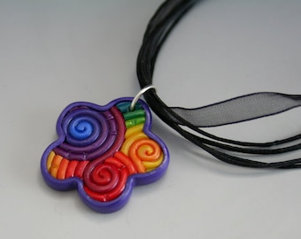 SALE Rainbow Flower Pendant in Fimo Filigree Clearance
