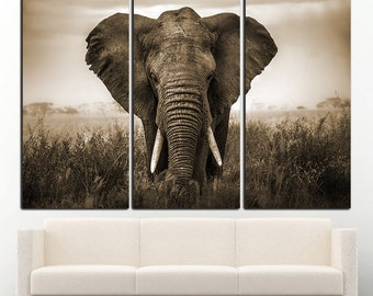 Elephant Canvas Elephant Wall Art Elephant Print Elephant Wall Decor Animal Wall  Art Large Animal Wall