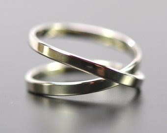 White Gold Infinity Ring, 14K Palladium White Gold 2mm Eternity Ring, Wedding Band, Sea Babe Jewelry