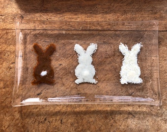 Rectangle fused glass serving plate platter, for Easter clear with three bunnies bottoms